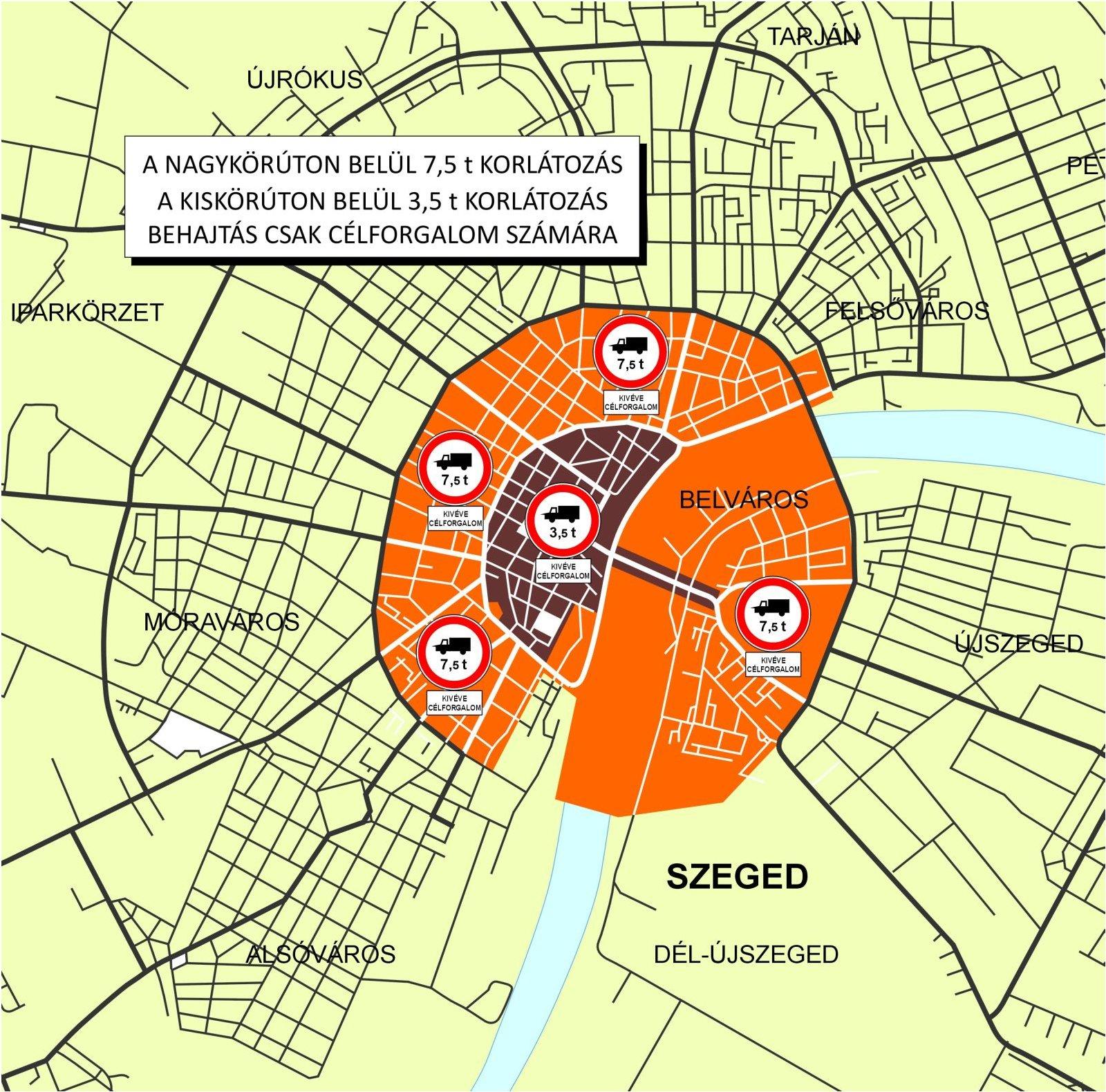 budapest teherforgalmi térkép Közlekedés: Tehergépjármű behajtási tilalom   Szeged, belváros budapest teherforgalmi térkép