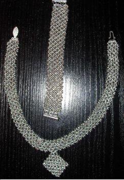 gyöngyszalag szett - ezüst