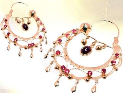 cigány arany fülbevaló rubinnal