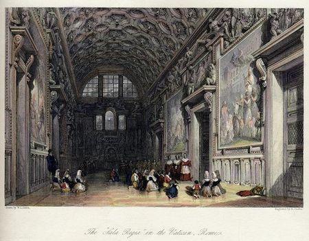 The 'Sala Regia' in the Vatican, Rome, 1836
