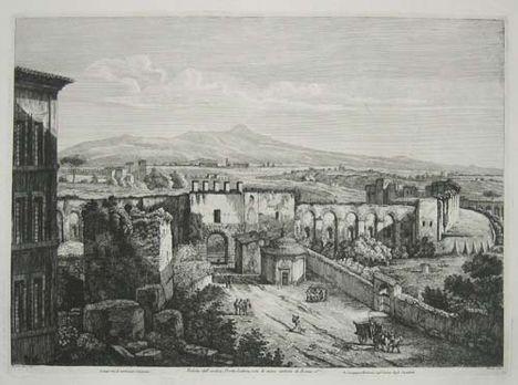 Veduta dell' Antica Porta Latina, con le Mura antiche di Roma