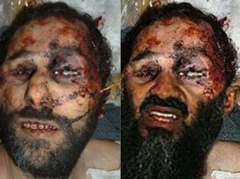 Photoshoppal Osama arcjegyeire lecserélt halotti maszk