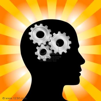 3117678-gear-symbol-in-the-head-of-a-thinking-silhouette-man-on-a-background-of-orange-red-rays