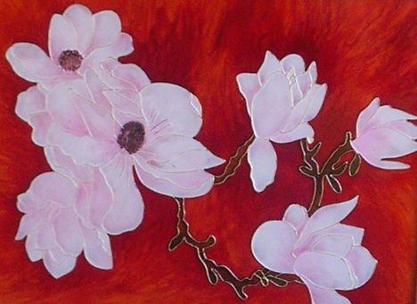 magnolia 2. uvegfestes  glas 30x40 cm