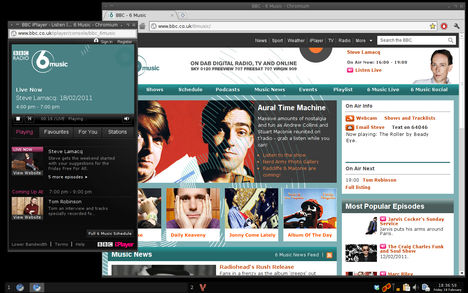 Crunchbang Statler, showing Flash support within Chromium web browser