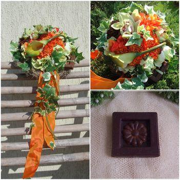 Luxus ballagási csokor narancs-zöld színben osszes