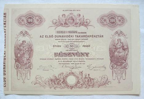 első dunavidéki takarékpénztár 2 x 50 pengő 1930