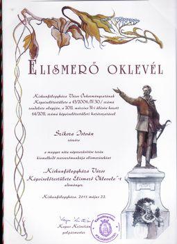 Elismerő Oklevél a magyarnóta műfaj ápolása terén végzett munkáért.