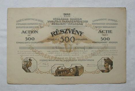 országos magyar vasutas takarékpénztár rt 500 korona 1911