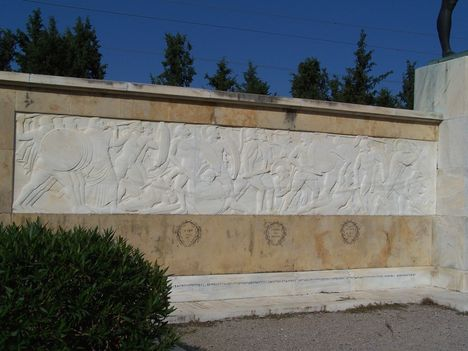 Görögország,  a Thermopülai-szoros, Leonidász király szobra, a spártai katonák sírfelirata 3