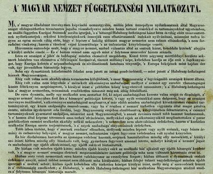 Függetlenségi Nyiatkozat 1849. ápr.14