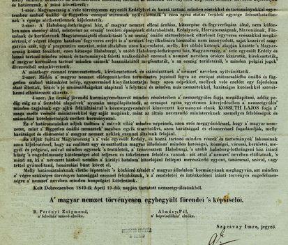 Függetlenségi Nyilatkozat 1849. ápr. 14.