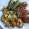Sült csirke rozmaringos fokhagymás sült krumplival és kovi ubival