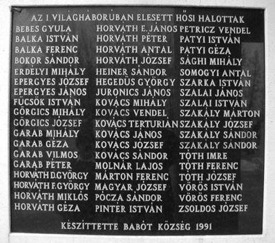 l. Világháborúban elesett Hősi Halottak