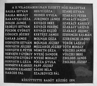 ll. Világháborúban elesett hősi halottak