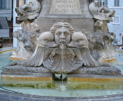 Detail of the fountain in piazza della Rotunda