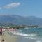 A srtand, háttérben az Olympos hegy