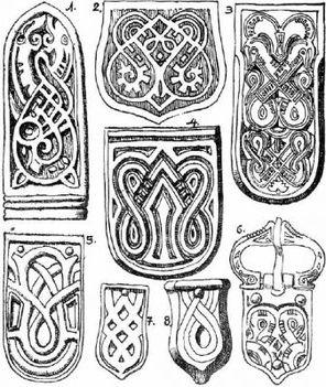 kígyós minta hun-avar arany, ezüst és bronz szijvégeken