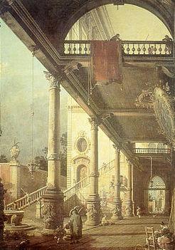 Canaletto, Capriccio con colonnato, 1765