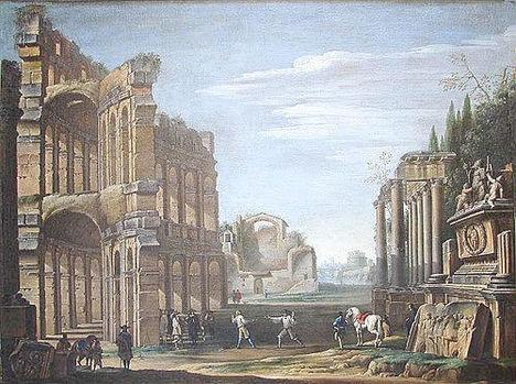 Giovanni Ghisolfi ( 1632-1683 ), Figure tra le rovine classiche