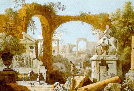 Marco Ricci, Capriccio con rovine romane, 1720 ca