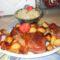 Pulyka comb velesült apró burgonyával,,káposzta saláta