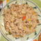 Zöldséges gombás rizseshús