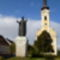 Mosonmagyaróvár, Szent István szobor és a Nepumoki Szent János templom, 2011. október 09.-én