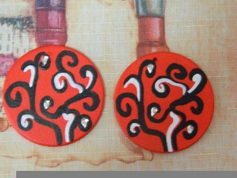 kézzel festett fa fülbevalók 2