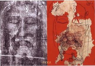 Jobbra az Ovideoi Sudarium vagyis arclepel balra meg a torinoi lepel