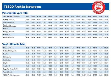 Tesco-járat menetrendje Esztergomban 2011. december 2-től (fotó: index.hu)