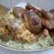 Gombakrémes csirkemell szelet és sült kacsacomb