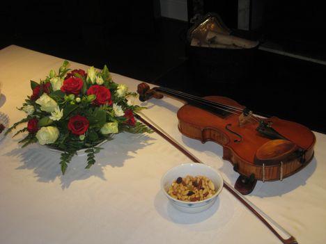 Hegedű virággal