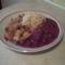 Fűszeres csirkemell,rizzsel,meggyszósszal.