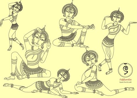 Indiai odisszi tánc grafikák 5