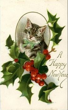 free-vintage-happy-new-year-cards-striped-cat-holly-picasa