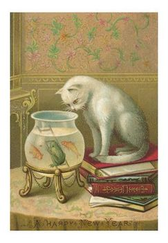happy-new-year-cat-watching-frog-and-fish-in-bowl