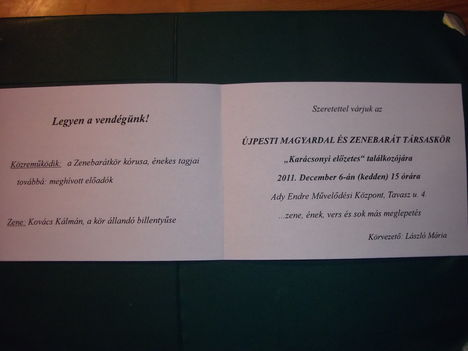 """Meghívó """" Karácsonyi előzetes""""-re 2011, dec .6."""