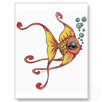 LOGO goldfisch_karikatur_kunst_durch_nette_zeichnung_li_postkarte-p