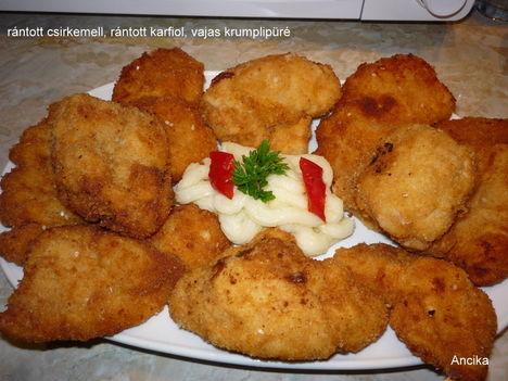 rántott csirkemell és rántott karfiol vajas krumplipürével