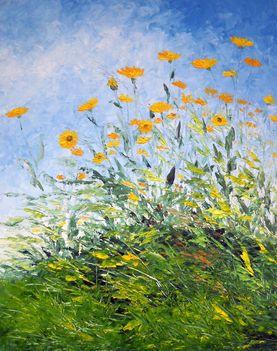 Mezei virágok 50x40 olaj, kasírozott vászon (festőkés)