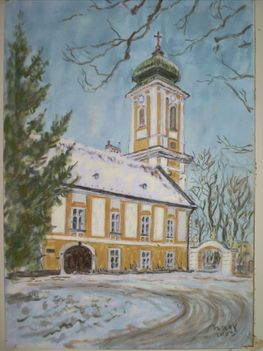 Csorna, Premontrei templom, pasztell