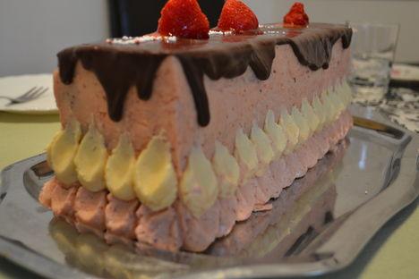 eper- , és  pirított mályvacukor krémes torta