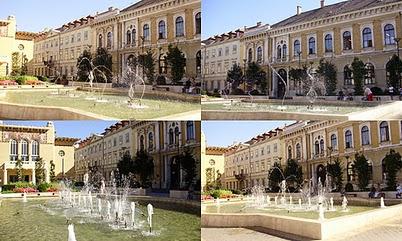 Sopron-Petőfi tér, szökőkuttal