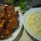 sült oldalas zöldbab főzelékkel