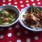 Grízgaluskás leves,tarhonya csirkepörkölttel