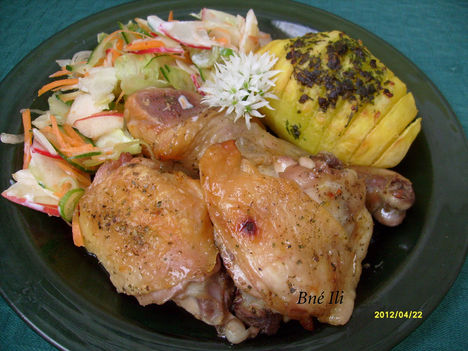 Sörös csirke csíkos burgonyával