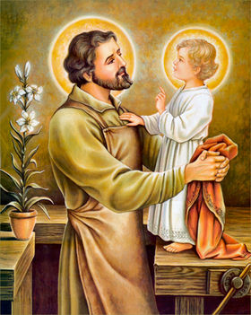 Szent József, fiával, Jézussal - mellettük a liliom, a szüzi tisztaság attribútuma