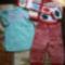 113- Lányka ruha, csíkos együttes