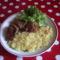 Sült oldalas, hagymás törtkrumplival, salátával